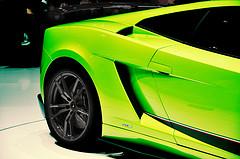 rear half of neon green sports car