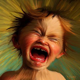 child having screaming fit