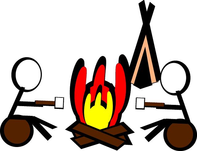illustration of 2 kids roasting marshmallows over campfire